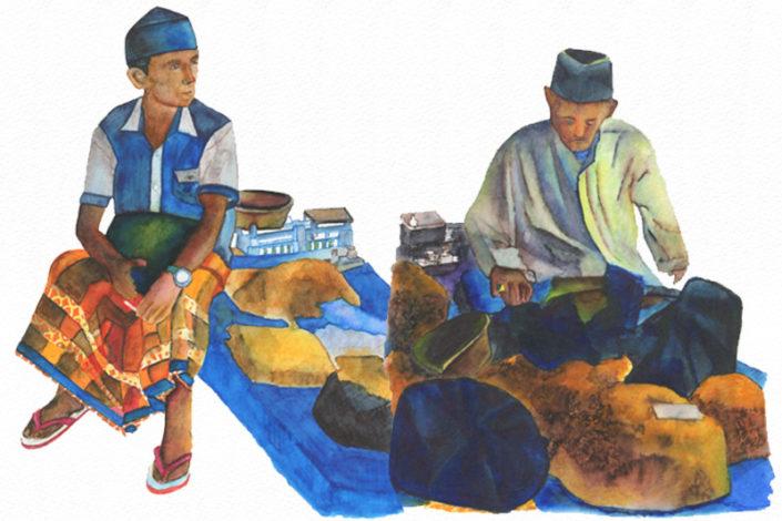 Indonésie Aquarelle Gaelle Pelachaud