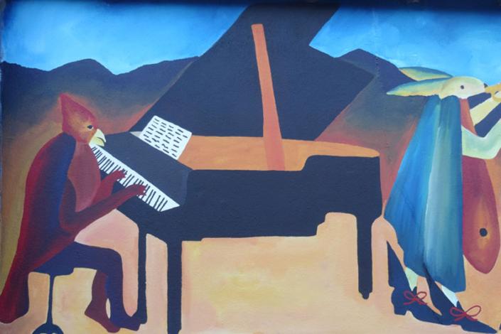 "Peinture murale ""Concert"" Fontenay aux Roses Gaëlle Pelachaud"