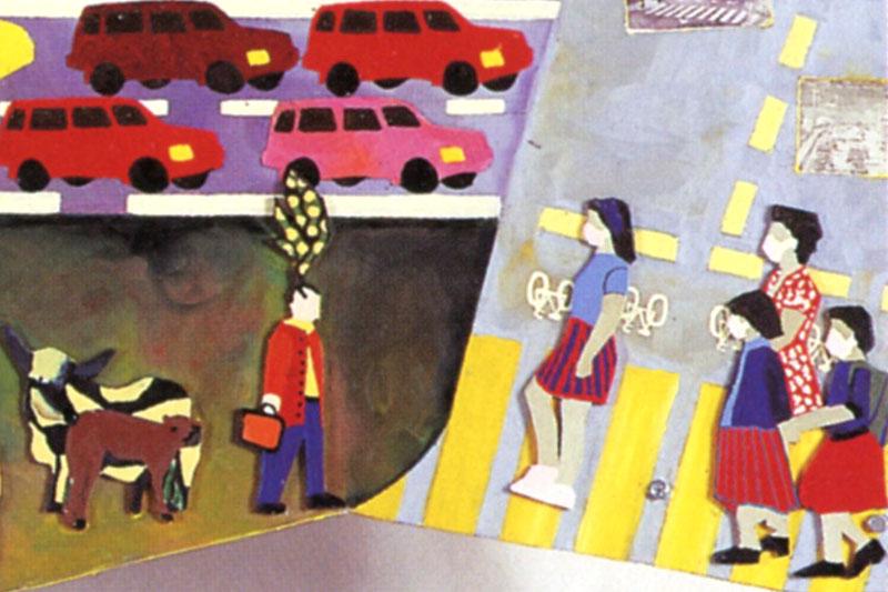 """Peinture sur Plexi """"La route dans tous ses états"""" Lauréate du concours de la Fondation Colas Gaëlle Pelachaud"""