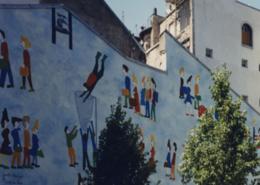 """Peinture murale """"La foule"""" Lauréate du concours des Murs Peints de la Ville de Paris Gaëlle Pelachaud"""