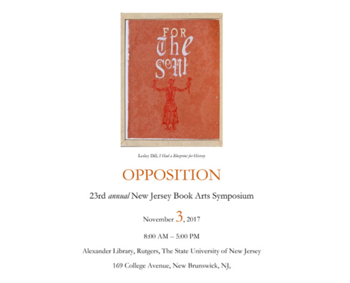 Opposition New Jersey Book Arts Symposium, novembre 2017