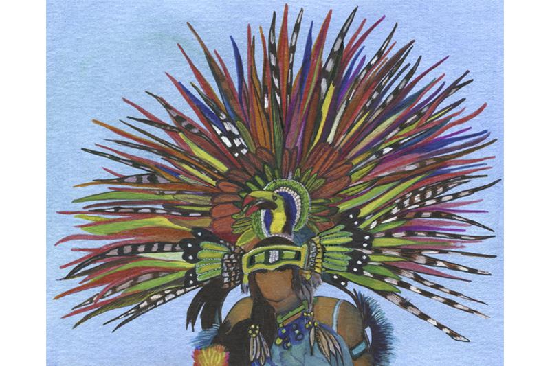 Femme oiseau-Mexique- Aquarelle-Gaëlle Pelachaud