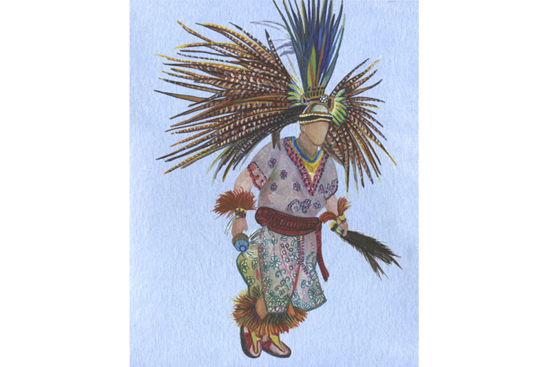 Homme oiseau-Mexique- Aquarelle-Gaëlle Pelachaud