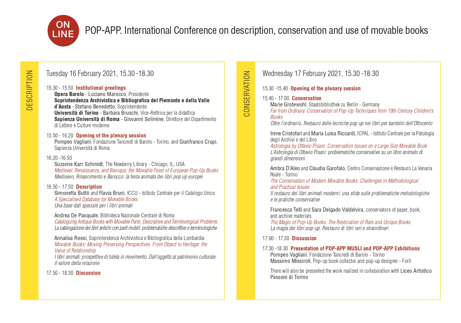 POP-APP. International Conference on description, conservation and use of movable books